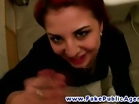 Redhead chick payed to fuck in the toilet